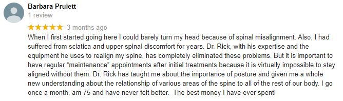 Chiropractic Mt Pleasant Patient Testimonial at A.O. Spinal Care